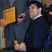 Chris Hart receives his Golden Shoe Award