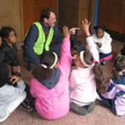 Program Manager Don Eunson reviews walking safety with Hurley third graders