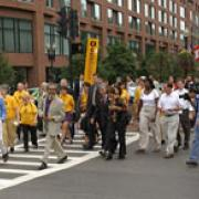 Walkers participating on the walk to the DNC
